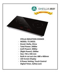 Stella TS 34C01 Double Induction Cooker Drop In 3400 Watts