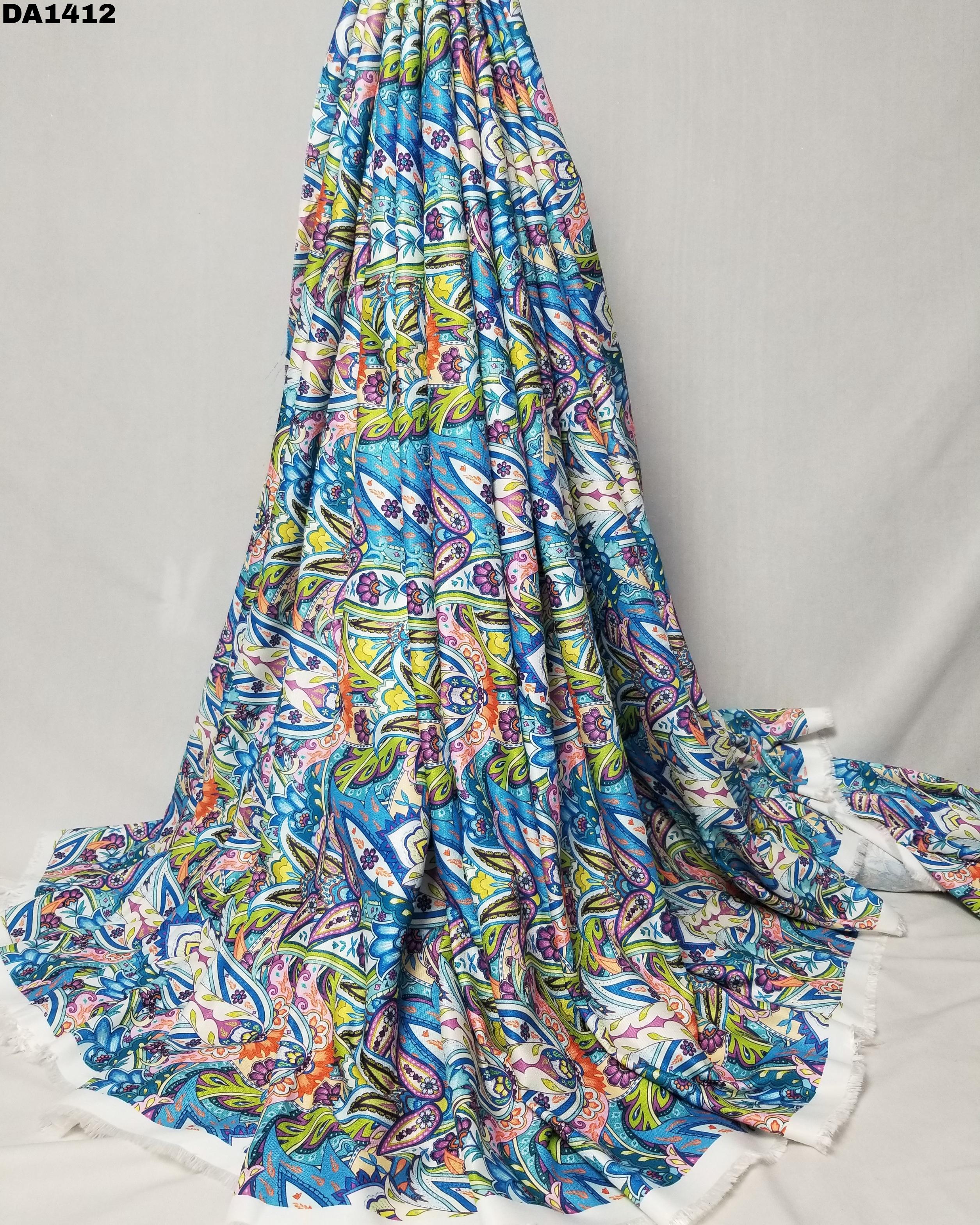 Rayon Linen Silk Digital Print Fabric