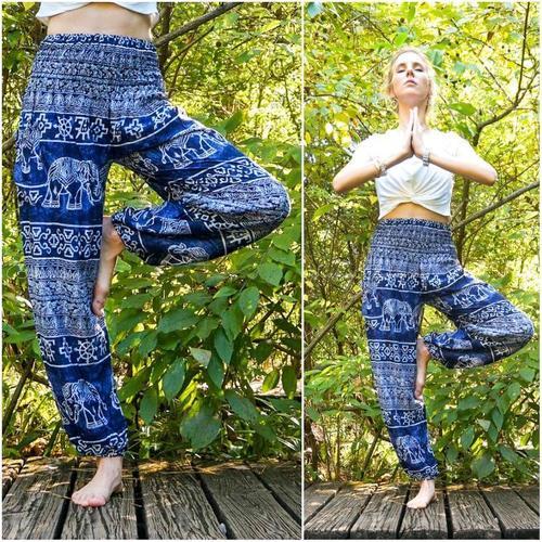 Light Blue Elephant Harem Pants