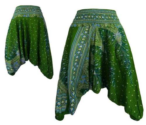 Green Peacock Yoga Harem Pants