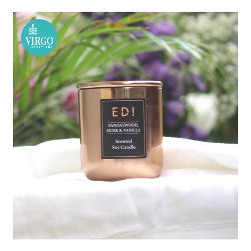 Edi:scented Soy Wax Candle, Sandalwood Musk Vanilla