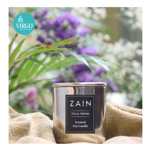 Zain:scented Soy Wax Candle, Tea & Thyme