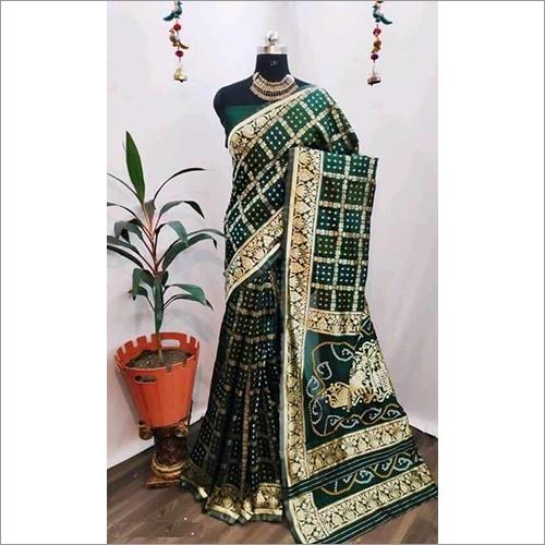 Ladies Bandhani Cotton Silk Designer Saree