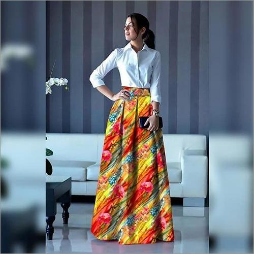 Ladies Shirt With Printed Skirt
