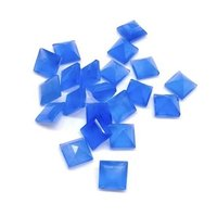5mm Blue Chalcedony Faceted Square Loose Gemstones