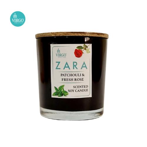 Zara:scented Soy Wax Candle, Patchouli-freshrose