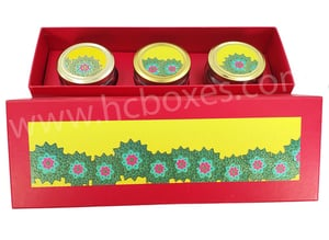 Jar Floral Design Box With Round Bottles 02 Pc And 03 Pc