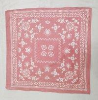 100% Cotton Printed  Pink Square Bandana