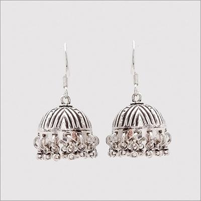 Sterling Silver Tribal Jhumka Earrings