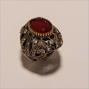 R0064-Sterling Silver Jewelry Designer Imitation Ruby And Cz Turkish Ring