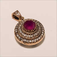 P0046-Sterling Silver Ruby Cz Fashion Beautiful Party Wear Turkish Pendant