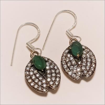 E0082-Sterling Silver Turkish Emerald Cz Earring