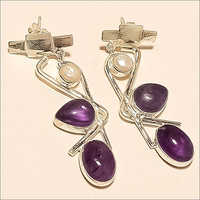 Sterling Silver Natural Panorama Amethyst And Pearl Earring