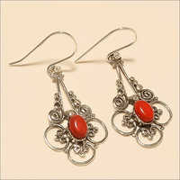 Sterling Silver Natural Italian Coral Jali Earring