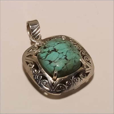 P0005-Sterling Silver Jewelry Beautiful Designer Square Turquoise Pendant Size: Different Available