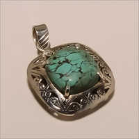 P0005-Sterling Silver Jewelry Beautiful Designer Square Turquoise Pendant