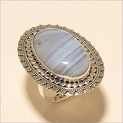 Natural Mexican Blue Lace Agate Pendant Ring