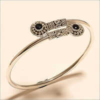 Sterling Silver Egyptian Black Onyx Twisted Handcuff