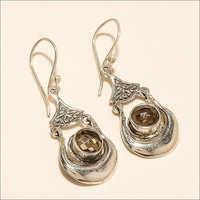Sterling Silver Natural Brazilian Smoky Topaz Earring