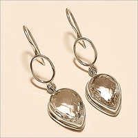 Sterling Silver Natural Russian White Topaz Earring