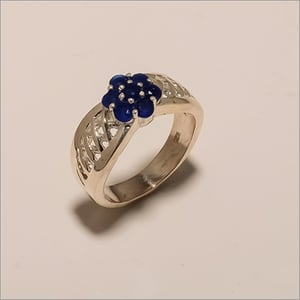 R0045-Sterling Silver Jewelry Beautiful Fashion Flower Design Sapphire Ring