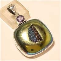 Sterling Silver Natural Russian Titanium Druzy Pendant