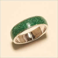 Sterling Silver Natural Green African Malachite Enamel Ring