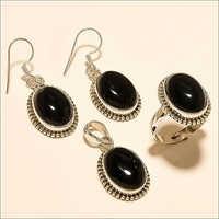 Sterling Silver Natural Egyptian Black Onyx Ring Earring Pendant Set