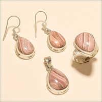 Sterling Silver Argentina Rhodochrosite Ring Earring Pendant Set
