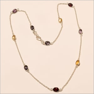 925 Sterling Silver Amethyst Lemon Topaz Gemstone Long Chain Women Necklace