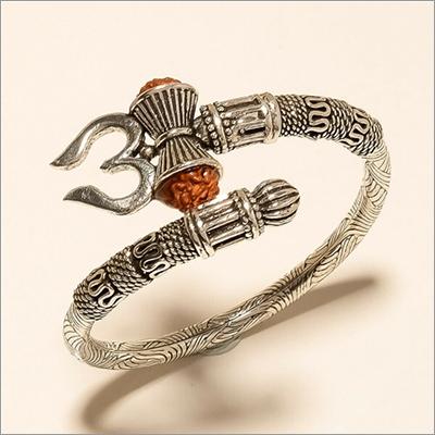 Sterling Silver Real Rudraksha Lord Shiva Trishula Handcuff Bangle