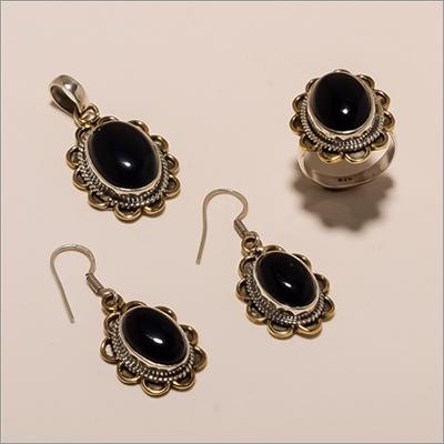 S0002-Sterling Silver Black Onyx Earring Pendant Ring Set
