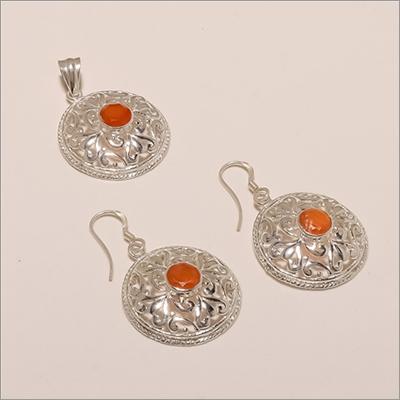S0009-Sterling Silver Cornilion Earring Pendant Set