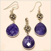 Sterling Silver Natural African Clue Sapphire Jewelry Set