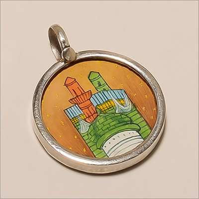 P0090-Sterling Silver Minar Painting Pendant