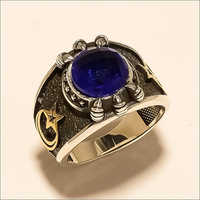 Mens Natural African Sapphire Crescent Moon Star Two Tone Ring