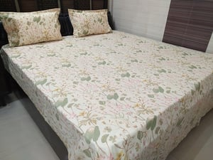 Abc Textile Pure Cotton Printed King Size Double Bedsheet With 2 Pillow Covers - Floral Pattern 250tc (100x108 Inches)