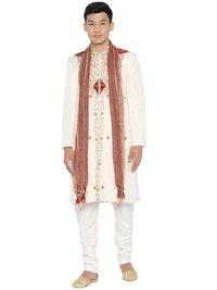 Raw Silk Embroidered Sherwani