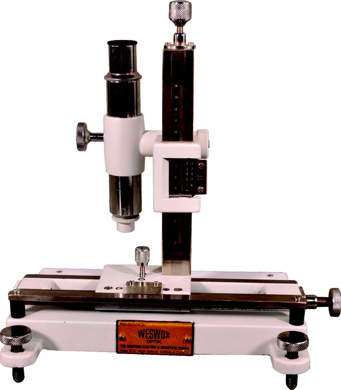 THREE 3-MOTION VERNIER/TRAVELLING MICROSCOPE