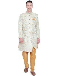 Men Sherwani and Pant Set Raw Silk