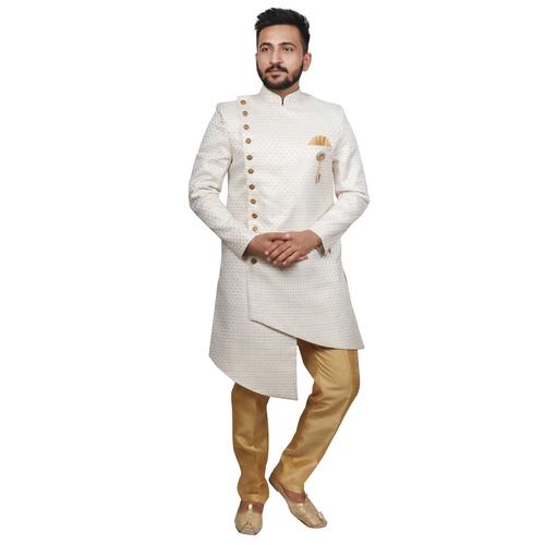 Self Design Asymmetric Sherwani