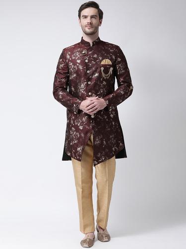 Men Raw Silk Indo Western Sherwani Set