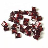 3mm Red Mozambique Garnet Faceted Square Loose Gemstones