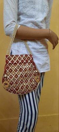 Designer Silk Embroidered Potli Bag