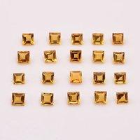 4mm Citrine Faceted Square Loose Gemstones
