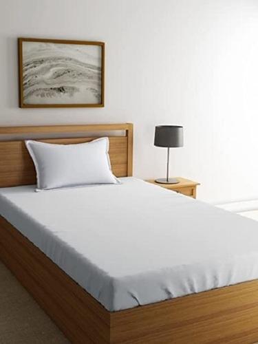 ABC Textile House Pure Cotton White Plain Single Bedsheet with 1 Pillow Cover