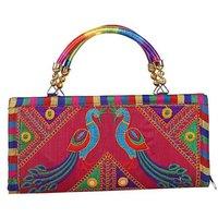 Handmade Jaipuri Rajasthani Peacock Embroidered Clutch Bag For Women
