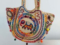Rajasthani Ethnic Indian Traditional, Colourfull Thread ,pom - Pom Mirror Shoulder Bag