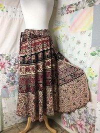Cotton Wrap-Around Elephant Long Full Skirt
