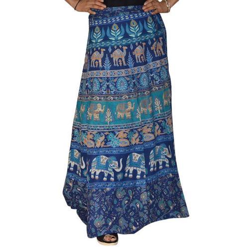 Indian Print Cotton Wrap Around Midi Skirt